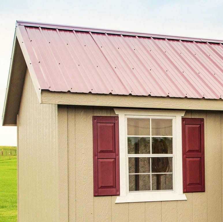 Metal Roof - 12x20 Painted Shed Shed Tan with Red Metal Roof