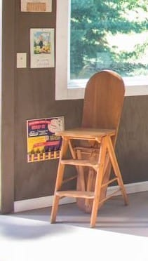 14x20 Storage Building - Antique Chair-Step Stool-Ironing Board