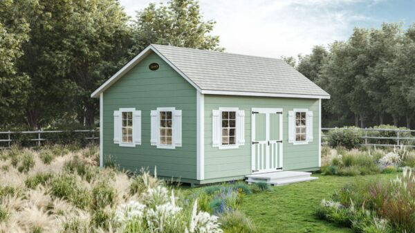 white trim on a green shed from Ulrich