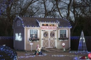 Ulrich shed with Christmas lights