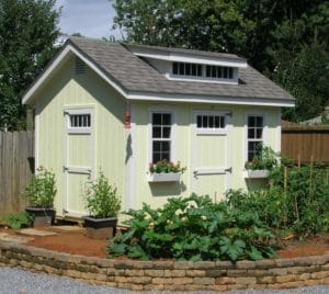 Painted Garden Cottage with architectural shingles